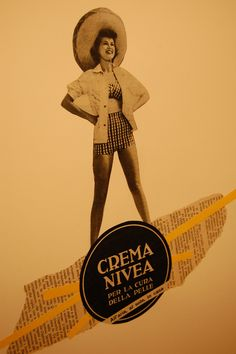 Crema Nivea, Collage made with original pages of '50 magazine. Please visit my facebook page! https://www.facebook.com/CollageVintageItaly