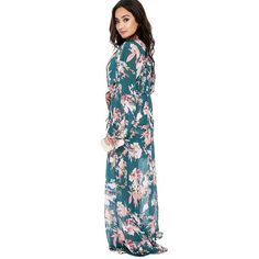 Sexy Green Floral Plunging Long Sleeve Maxi Romper ($35) ❤ liked on Polyvore featuring jumpsuits and rompers