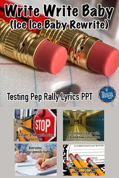 """Write Write Baby Testing Pep Rally PPT is a motivational rewrite of """"Ice Ice Baby"""" by Vanilla Ice that will encourage your students before taking their state writing test. At my school, the pep rally song was recorded by a singer or group, then the audio was added to the PPT and timed so that students could sing along. This tune is timeless, and kids LOVE it!"""