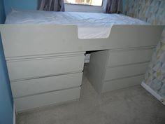 Ikea malm drawer hack to single bed - Renovation Bay-Bee Ikea Malm drawers hack, turning from drawers into a raised single bed. Spray painted with Valspar s Hack Ikea, Ikea Hack Bedroom, Ikea Kura Bed, Bedroom Hacks, Bedroom Storage, Bedding Storage, Ikea Malm Drawers, Ikea Kallax, Casa Milano