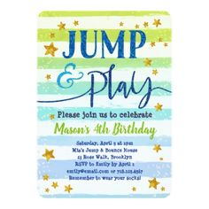 Boy Jump Party Invitations Green Blue Bounce Play - invitations personalize custom special event invitation idea style party card cards