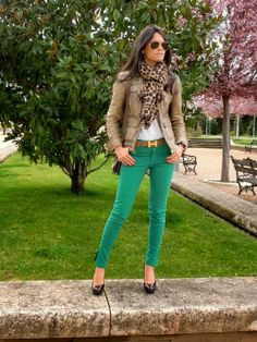 Stylish Leather Jacket With Green Pant And Leapord Print Muffler.