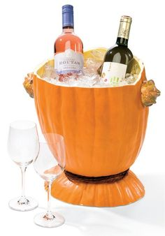Pumpkin Ice Bucket for Wine for Halloween Parties and Thanksgiving Dinner Pumpkin Wine, Diy Pumpkin, Pumpkin Cupcakes, Pumpkin Cookies, Halloween Pumpkins, Halloween Fun, Halloween Parties, Mets Vins, Wine Bucket