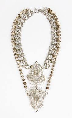 Fenton-Fallon Silver, Crystal, Cream And Brown Necklace | VAUNTE