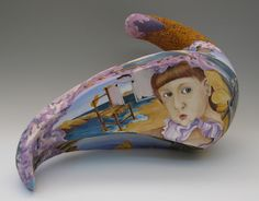 Stage of Uncertainty, coil built stoneware, hand-painted with underglazes, 22x14x8 in