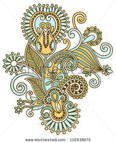 original hand draw line art ornate flower design. Ukrainian traditional style - stock vector
