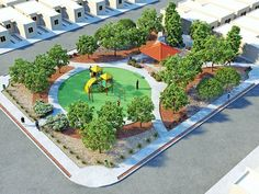 Pocket Park, Landscape Architecture Design, Urban Landscape, Urban Design, Animal Crossing, Playground, Places To Visit, Asdf, Outdoor