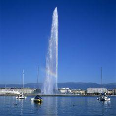 Jet D'Eau, Geneva, Lake Geneva (Lac Leman), Switzerland
