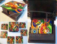Portavasos MDF, pintado a mano, resina
