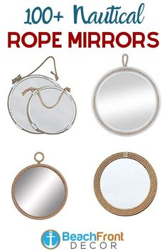 Best Rope Mirrors and Nautical Wall Decor! Discover the top-rated nautical themed rope wall decorations and rope themed mirrors. Nautical Bathroom Mirrors, Nautical Mirror, Nautical Wall Decor, Beach Wall Decor, Round Mirror With Rope, Rope Mirror, Rope Frame, Round Wall Mirror, Hanging Rope