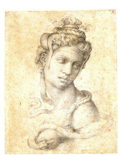El final de Cleopatra  En este dibujo, Miguel Ángel imaginó que el áspid mordió mortalmente a Cleopatra en un pecho, aunque los autores antiguos aventuran que fue en un brazo.