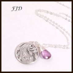 Fine Silver, Amethyst and Sterling Silver Necklace