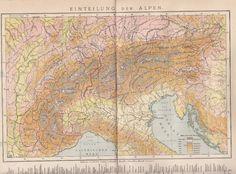 1893 ALPEN Einteilung Landkarte Antique Map * Original Druck / Print * Alps