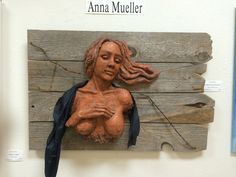 Clay, fiber and wood by Anna Mueller Figurative, Disney Characters, Fictional Characters, Fiber, Anna, Clay, Sculpture, Disney Princess, Wood