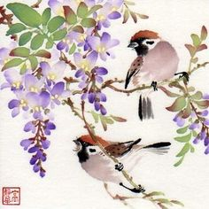Jinghua Gao Dalia - Brush Magic- Over 3 decades of Chinese watercolor brush painting experience Japanese Painting, Japanese Art, Watercolor Bird, Watercolor Paintings, China Art, Art Moderne, China Painting, Bird Art, Flower Art