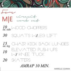 This one kicked my butt! I added 5 surfer burpees (Google one of our fave fitness queens, Zuzka, for a breakdown) in between each exercise. AMRAP= as many reps as possible. 10 minutes and you'll be sweating and feeling like the goddess you are! #marielleejiama #fitness #workoutWednesday #workout
