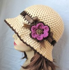 Women Hat, Beige Cloche, Natural, Chocolate Brown Trim, Ribbon, Flower, Flapper, Cowboy, Grape Purple, Jewel, Gifts for her - JE277CRFALL2