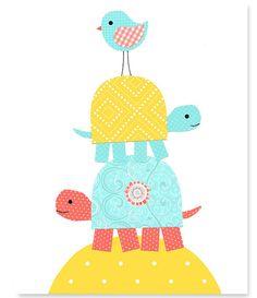 Nursery Turtle Print Aqua Coral Yellow by SweetPeaNurseryArt