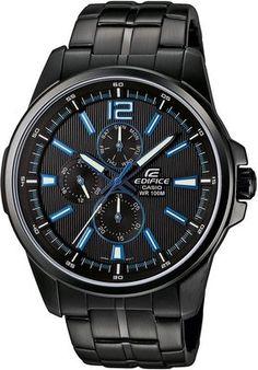 Casio Edifice - Blue and black Casio Edifice, Casio Watch, Omega Watch, Barbie, Mens Fashion, Watches, Blue, Accessories, Animal Kingdom