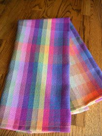 Seven different hues of summer rainbows done in a block taquette stucture. This towel is from the same warp but treadled as pla. Rainbow Blocks, Weaving Textiles, Hand Towels, Tea Towels, Pattern Blocks, Handmade Bags, Hand Weaving, Rainbows, Sewing