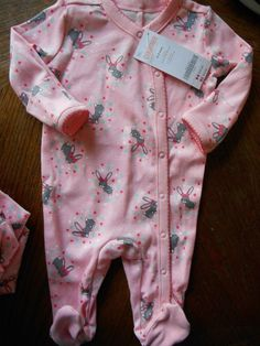 Gymboree NWT Baby Girl Bunny Pink footed pajamas with snap front
