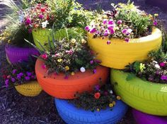 Cheers to Planting In Old Tires - Upcycling this is so ggpa and ggma!!!
