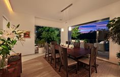 Elegant Wood Interior Emphasizing Luxury Sense: Elegant Wood Interior Dining Room With Bold Natural Decorations And Nice Access Of Cozy Terr...