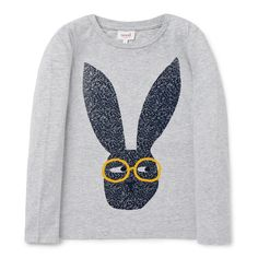 100% Cotton Tee. Jersey, long sleeve t-shirt. Features novelty bunny placement print on front panel with flock print glasses. Regular fitting silhouette. Available in Birch Marle.