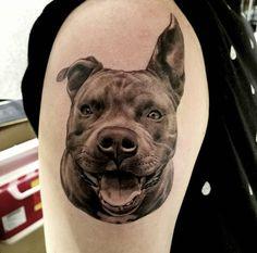 Tattoos for Pet Lovers. Tattoo by Freddy Negrete. Dog Tattoos, Animal Tattoos, Life Tattoos, Black Tattoos, Grey Pitbull Puppies, Dog Portrait Tattoo, Pitbulls, Framed Tattoo, History Tattoos