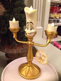 Disney Parks LUMIERE Light Up Candelabra Figure New - Beauty And The Beast