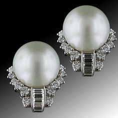Colossal South Sea Pearl and Diamond Ear Clips