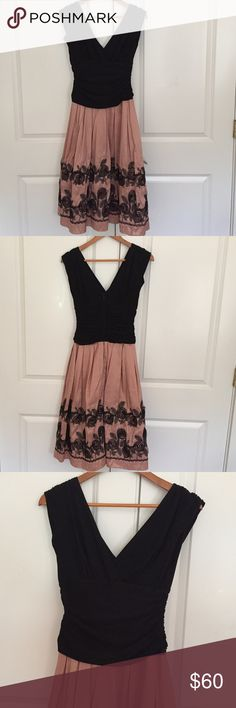S L Fashion Laced Floral A Line Party Dress Floral A Line Laced party Dress black and bubble gum pink size 6 worn once S L Fashion Dresses