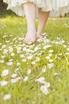 Barefoot in the grass.