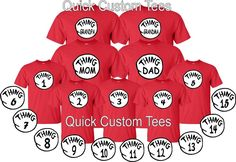 thing 1 and thing 2 t-shirts nice cute Dr Seuss new kids adults thing one two .. #Gildan #GraphicTee
