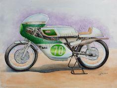 MZ RE250, 1969, Aquarell  40cm x 30cm.