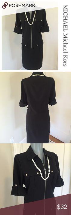 """MICHAEL Michael Kors Shirt Dress.  Beautiful. Michael Kors Black Shirt Dress.  Beautiful.  Straight line. Bust 37"""". Waist area 33"""". Hip area 39"""". Has tie belt to wear at waist or tie below waist. Very good condition.  So pretty and smart. MICHAEL Michael Kors Dresses"""