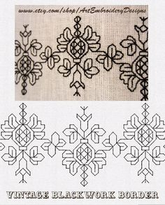 ArtEmbroisery Vintage Blackwork border Machine Embroidery designs