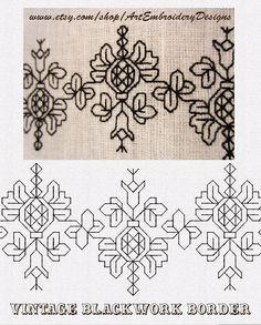 ArtEmbroisery Vintage Blackwork border Machine Embroidery designs