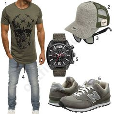 Lässiger Look in Grau und Olivgrün (m0491) #outfit #style #fashion #menswear #mensfashion #inspiration #shirt #cloth #clothing #männermode #herrenmode #shirt #mode #styling #sneaker #menstyle
