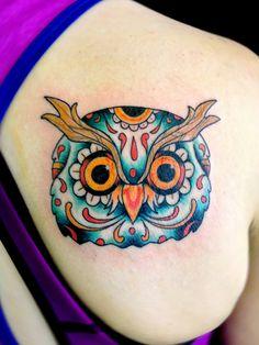 cool owl tat from scorpion studios in Houston