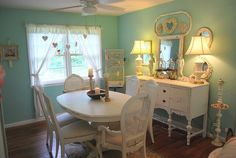 Decorative Antiqued Rose Garden Glossy Ivory Metal Shabby Chic 4 x 6 Table To. - Home Style Corner Shabby Chic Dining Room, Shabby Chic Antiques, Shabby Chic Homes, Shabby Chic Decor, Shabby Chic Furniture Before And After, Dining Room Furniture, Dining Rooms, Kitchen Dining, Dining Area
