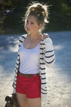 Summer Stripes. red shorts
