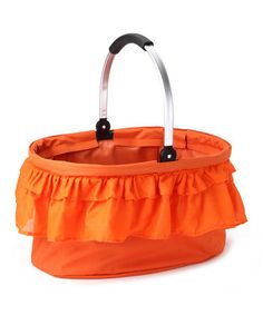 Take a look at this Orange Ruffle Folding Market Basket by Moroccan Cooking Collection on #zulily today!