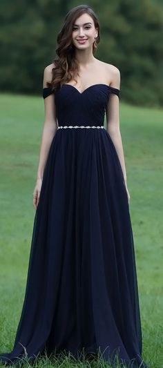 eDressit Off Shoulder Dark Blue Dress