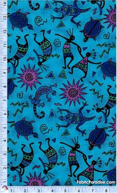 SW-kokopelli-A241 Doula, Nativity, Native American, Turquoise, Fabric, Blue, Tejido, Tela, The Nativity