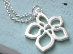 Silver Plumeria Necklace by linkeldesigns on Etsy, $18.00