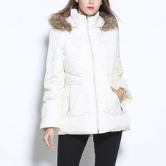 Women Ski Suit Mountainerring 2017 Urltra Light Women Winter White Down Jacket Long Warm Hooded With Fur Collar Zipper Coat ** AliExpress Affiliate's buyable pin. View the item in details on www.aliexpress.com by clicking the image #Ski