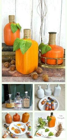 Painting Glass Jars and Bottles to Look Like Decorative Gourds for Fall, DIY and Crafts, I think I've figured out the very best way to recycle, repurpose, and upcycle your glass wine and liquor bottles for autumn decor! Painting them using. Fun Diy Crafts, Upcycled Crafts, Jar Crafts, Repurposed, Beach Crafts, Painting Glass Jars, Painted Glass Bottles, Glass Paint, Decorated Bottles