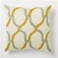 Grey and gold chain link throw pillow.