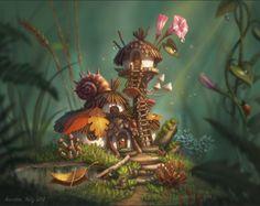 Most Popular Fairy House Art Drawing Ideas Fantasy Art Landscapes, Fantasy Landscape, Fantasy Artwork, Landscape Art, Art And Illustration, Mushroom Art, Mystique, Arte Horror, Fantasy Kunst